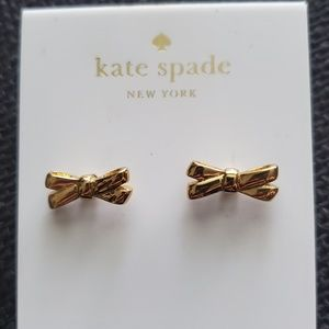 Kate Spade Double Bow Gold Stud Earrings